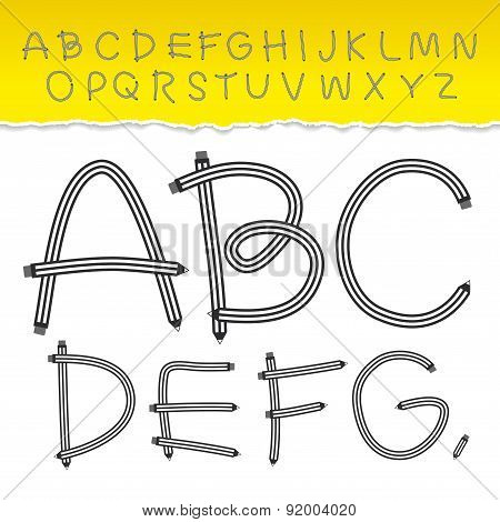 alphabet from A to Z and used pattern brushes included. Set black letters on white background.