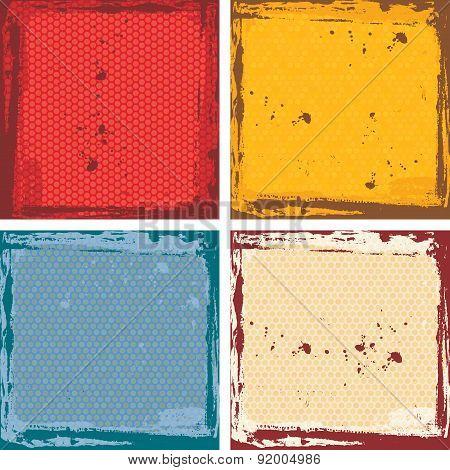 Abstract grunge frame set. red orange blue beige Background template. Vector