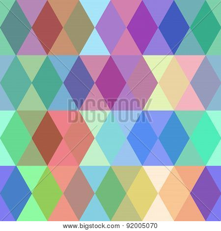 Abstract seamless pattern with colored rhombus. Vector