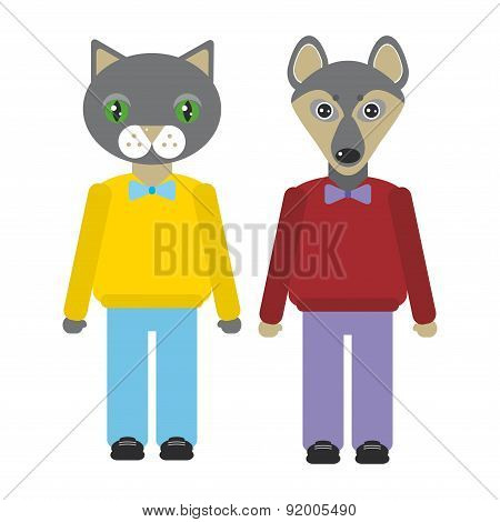 cat and dog animals set in Trendy Flat Style. zoo infographics design. Vector