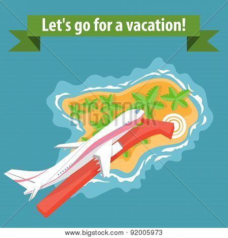 Flat illustration of summer holiday vacation