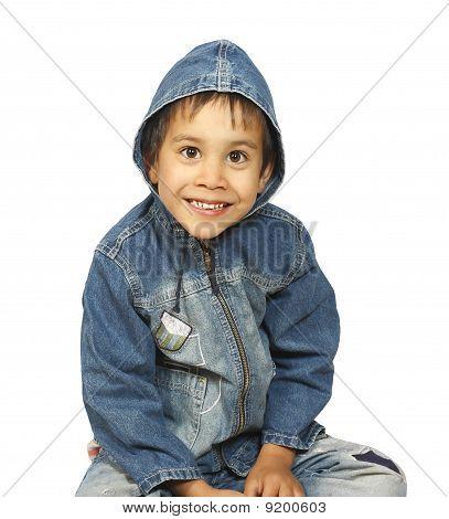 Sitting A Little Boy In Denim Jacket