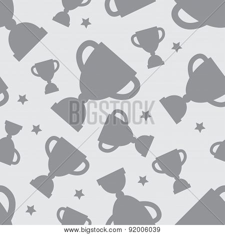 Seamless pattern with winners cup