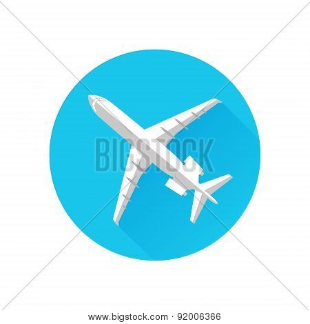 Airplane Icon Flat Minimal Vector Silhouette