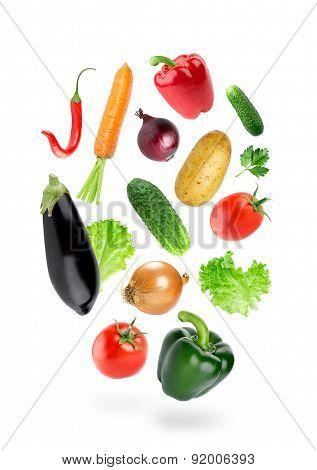 Falling Fresh Color Vegetables
