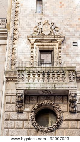 Ornate Scrollwork And Details On Old Stone Building