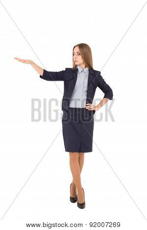 Businesswoman Showing Size. Beautiful Young Businesswoman In Suit Showing Large Size And Smiling