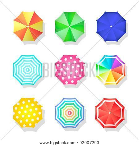 Beach set  of sun umbrellas top view. Summer  parasol. Vector