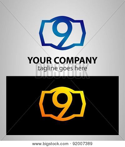 Number logo design.Number nine logo.Logo 9 vector template