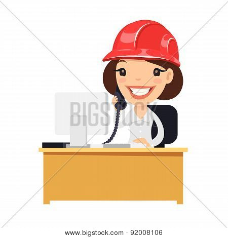 Female Construction Support Character at her Desk