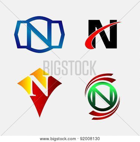 Letter N logo symbol set collection