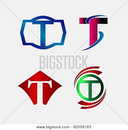 Set of Decorative Letter T - Icons Logo and Elements