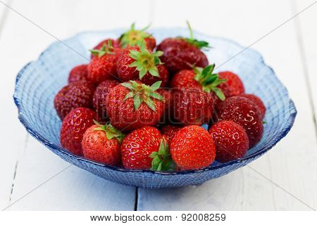 Fresh Strawberries Over White Wood