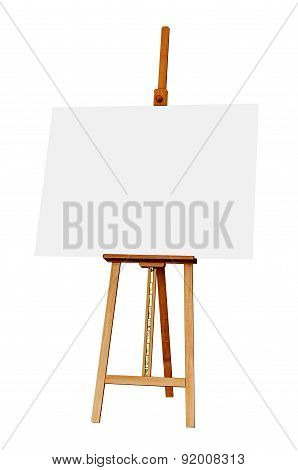 Wooden Easel With Blank Painting Canvas Isolated On White Background