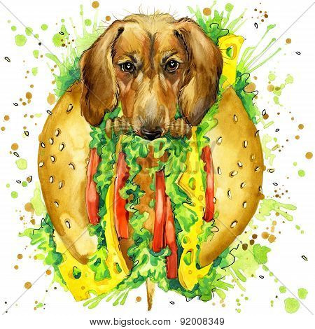 Funny dog and fast food, watercolor fashion print