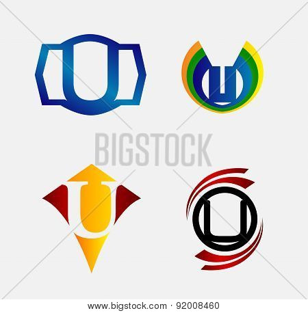 Set of Decorative Letter u - Icons Logo and Elements