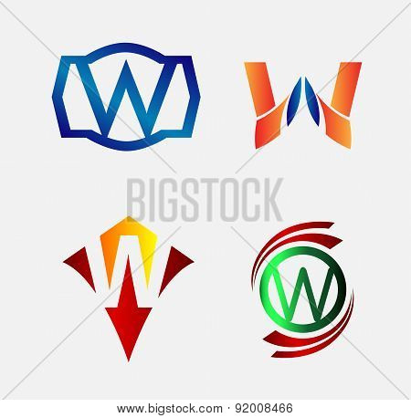 Set of Decorative Letter w - Icons Logo and Elements