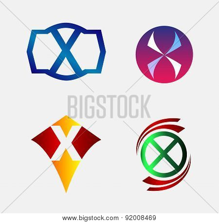 Set of Decorative Letter x - Icons Logo and Elements