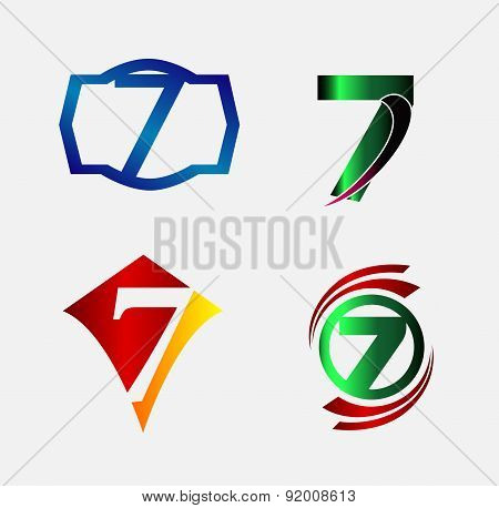 Number logo design.Number seven logo.Logo 7 vector template
