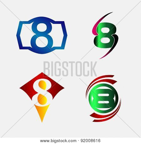 Number logo design.Number eight logo.Logo 8 vector template