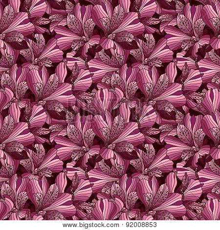 Seamless Pink And Purple Alstroemeria Flowers Background