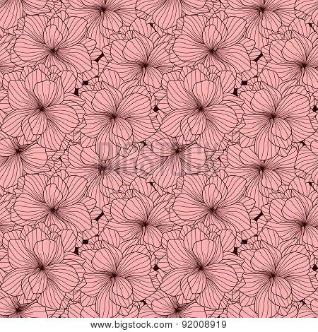 Seamless Pattern Made Of Pink Begonia Flowers