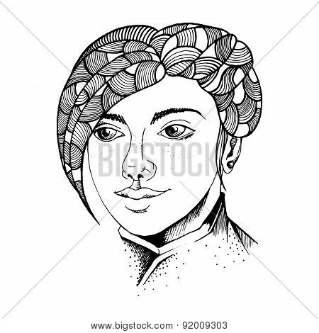Hand Drawn Graphic Man Face - Young Boy With Beautifull Hair