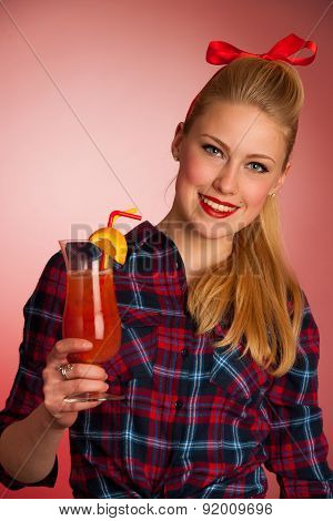 Beautiful Young Blond Caucasian  Pinup Woman With A Glass Of Cocktail