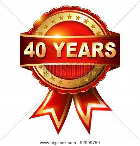 40 years anniversary golden label.
