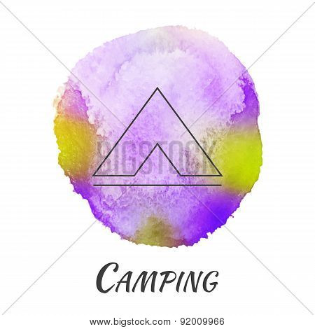 Camping Tent Travel Vector Watercolor Concept