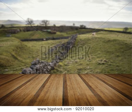 Beautiful Landscape Of Peak District In Uk With Famous Stone Walls On Sunny Day Concept Image
