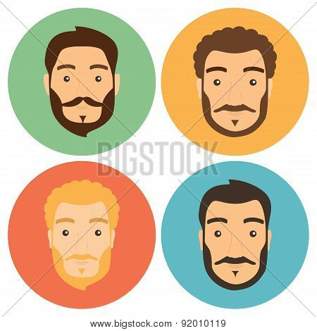Flat Man With Beard Hipster Icons Set