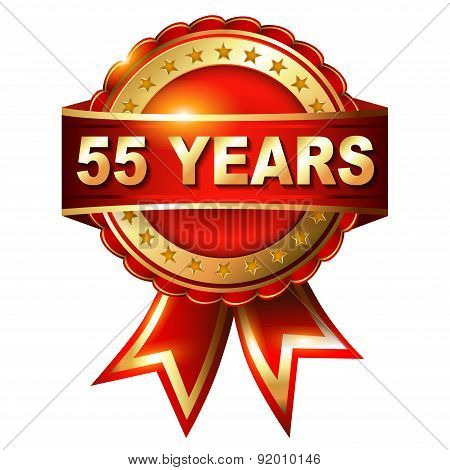 55 Years Anniversary Golden Label With Ribbon
