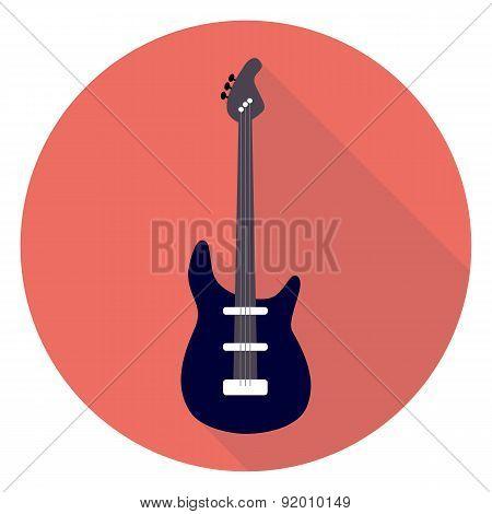 Guitar Flat Circle Icon