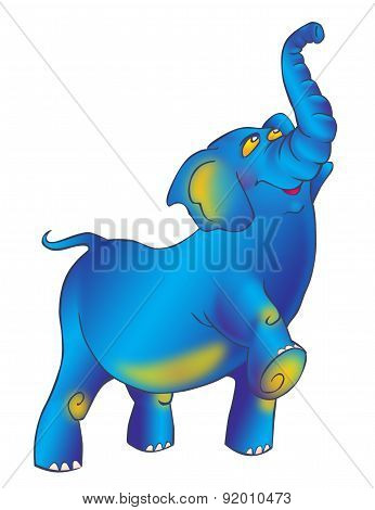 Triumphantly Striding Proudly Blue Elephant With A Raised Trunk