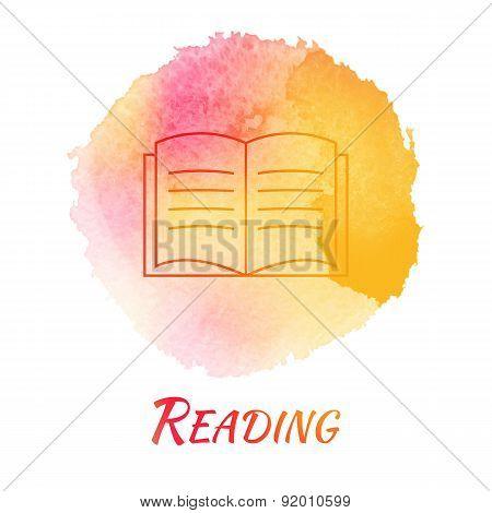 Reading Book Vector Watercolor Concept