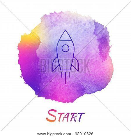 Rocket Launch Start Vector Watercolor Concept