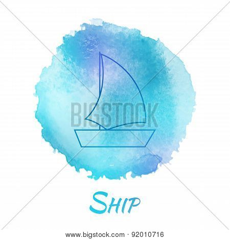 Sea Ship Marine Vector Watercolor Concept