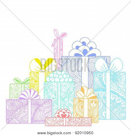 Composition Of Bright Gift Boxes On White Background