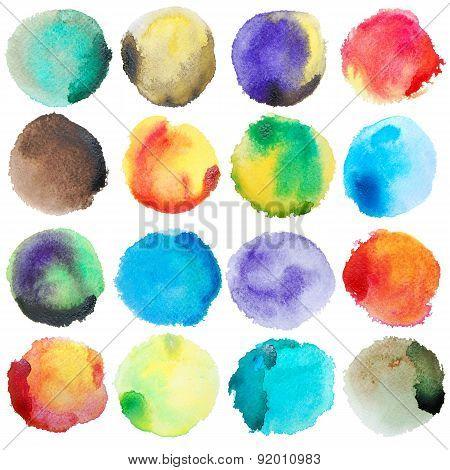 Watercolor Colorful Circles Big Set
