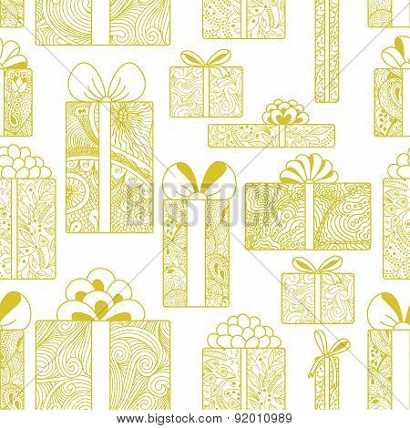 Seamless Gift Boxes Pattern On White Background