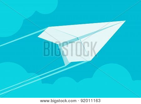 White paper airplane flying in the sky