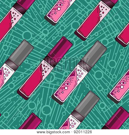 Vector Hand Drawn Lip Gloss Seamless Pattern. Pink And Turquoise Color.