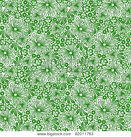 Seamless Green Pattern On White Background