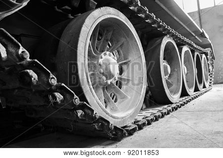 Truck And Wheels Of The Soviet Tank.