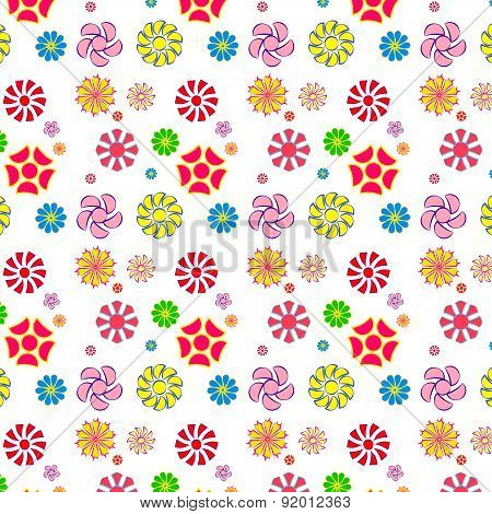 Easy And Fun Pattern Of Flowers,seamless