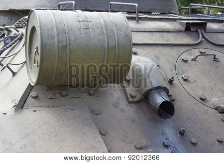 Truck And Wheels Of The Soviet Tank. Rear View Tank