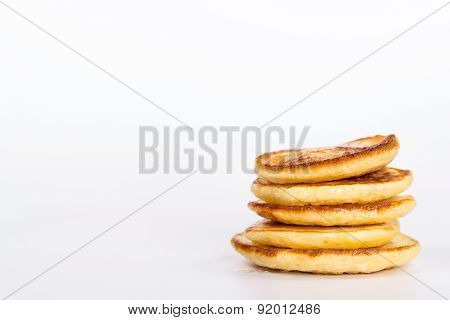 stack of several pancake isolated on white background