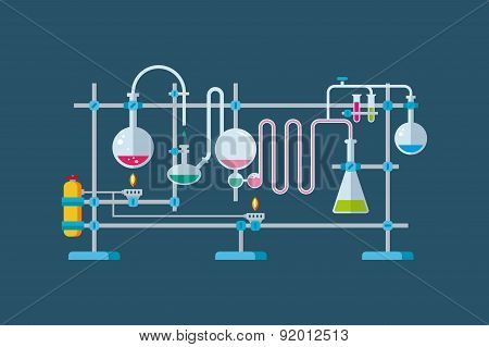 Chemical Laboratory Equipment Objects with a Series of Flasks and Beakers Various Shapes