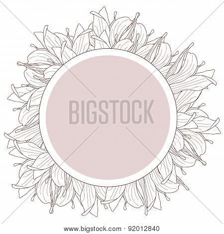 Round Beige Label Decorated With Magnolia Flowers